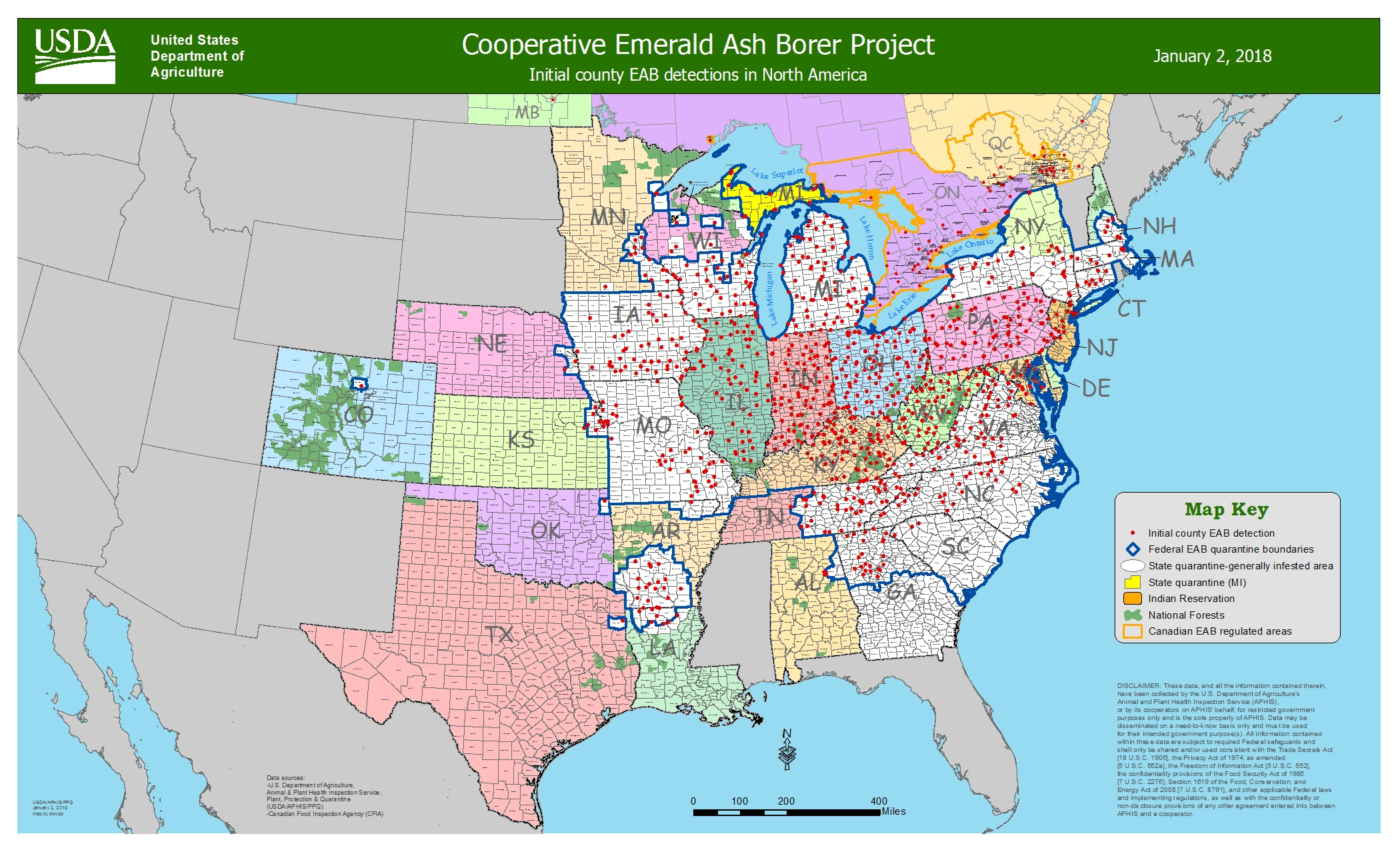 Image result for USDA emerald ash borer canada usa map 2018