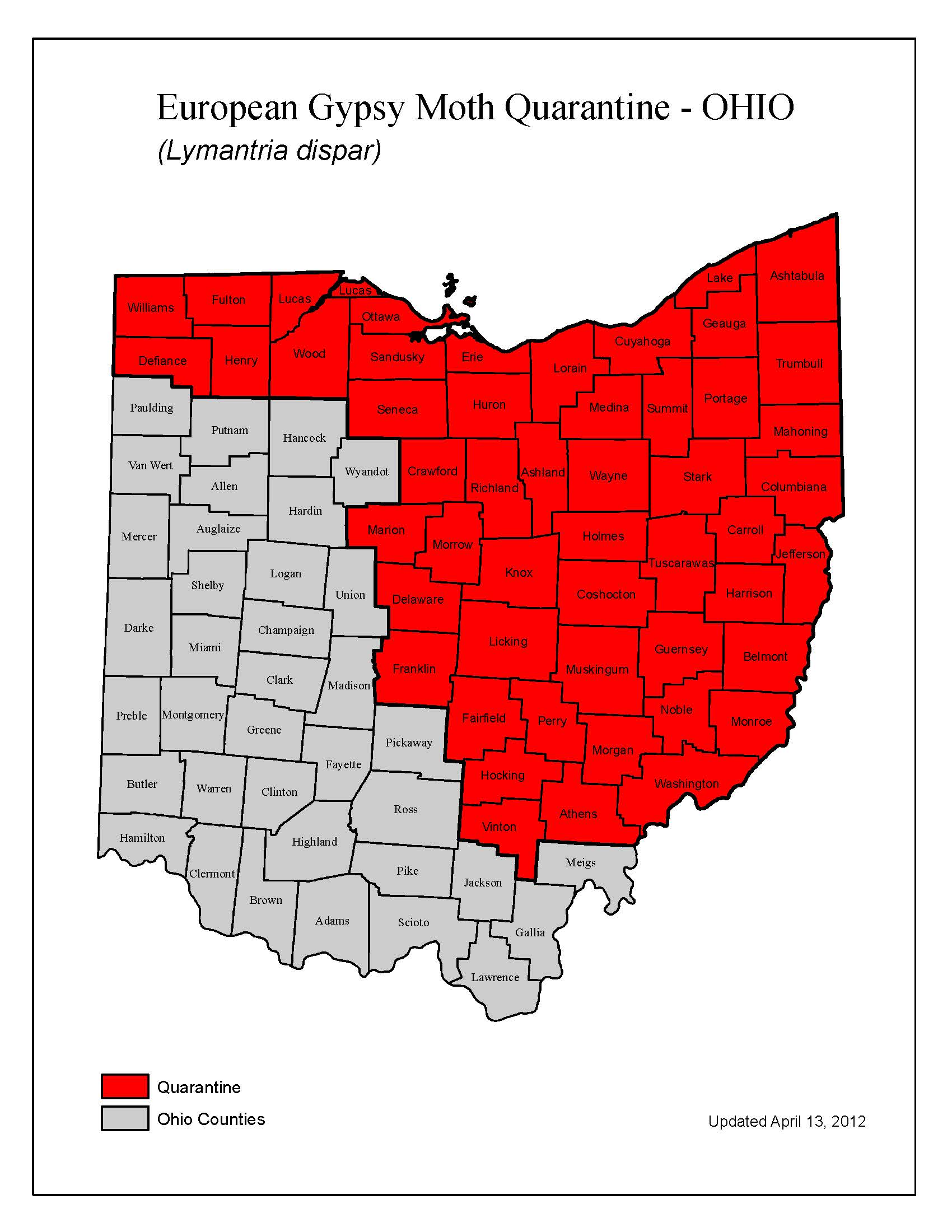 Ohio Gypsy Moth Quarantine Map