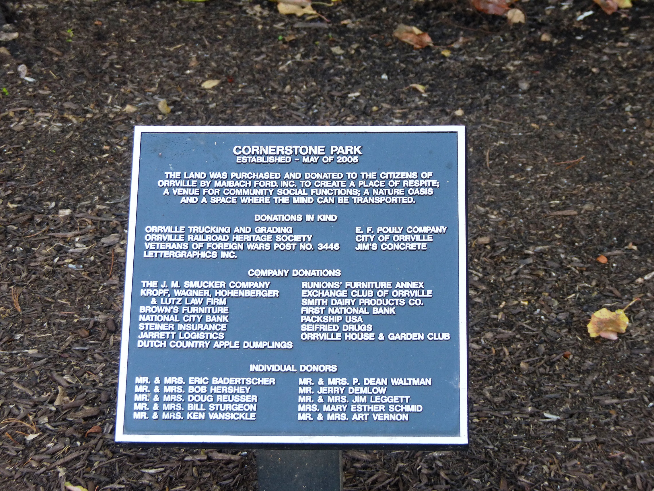 Dedication Plaque At Orrvilleu0027s Park