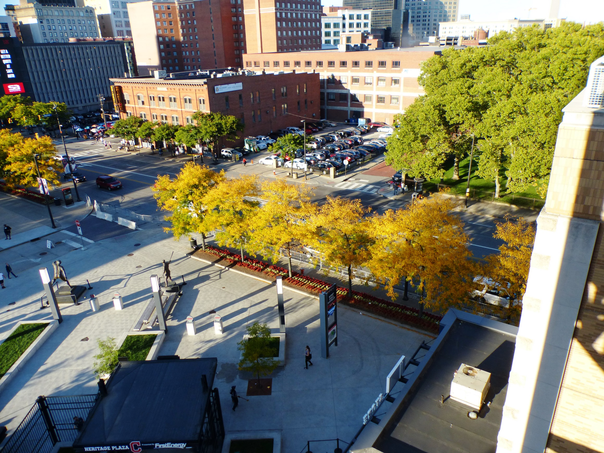 Fall color of honeylocust high above Progressive Field in Cleveland