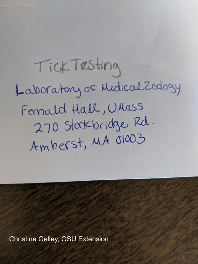 mailing label for tick testing