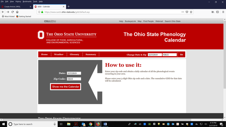 Growing Degree Day Website, https://www.oardc.ohio-state.edu/gdd/