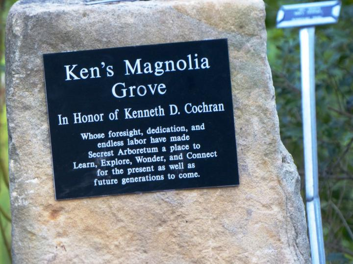 Plaque for Ken's Magnolia Grove