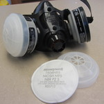 Example of personal protective equipment: half-face respirator with replaceable vapor cartridges and filers